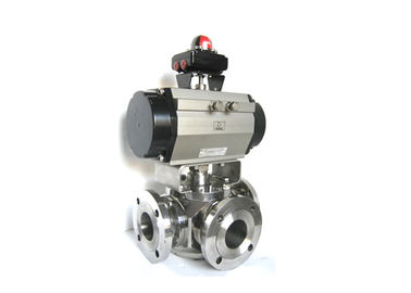 Trunnion Mounted 3 Way Ball Valve Stainless Steel Material For Industrial